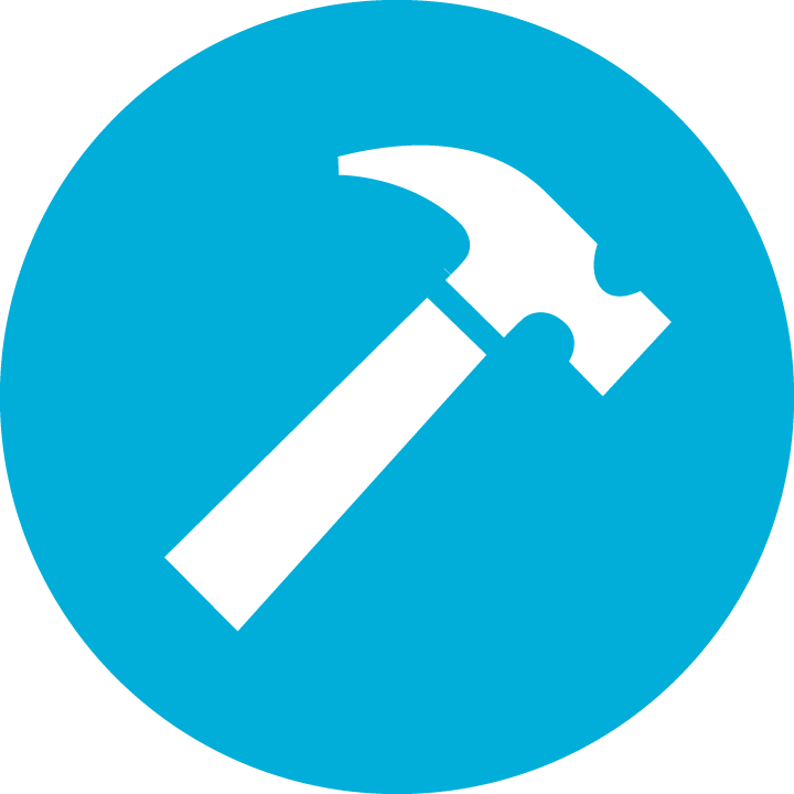 Blue Circle with Hammer icon